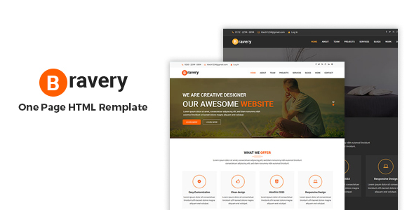 Bravery - Creative One Page Responsiv  HTML5 Template            TFx