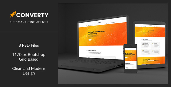 Converty — Eye-Catching and Creative SEO/Marketing Agency Template            TFx
