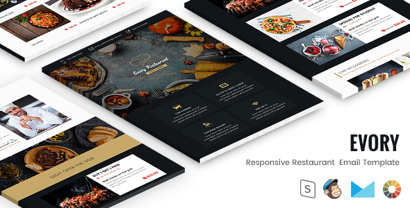 Evory - Responsive Restaurant  Email Template + StampReady Builder            TFx