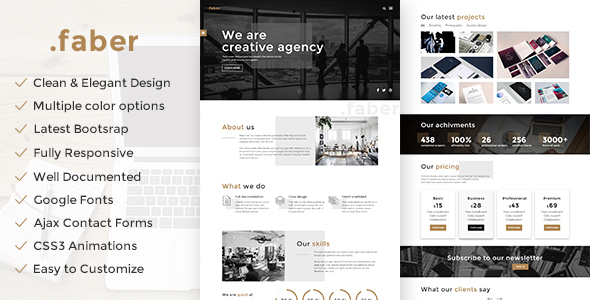 Faber - Creative Agency Responsive Site Template            TFx