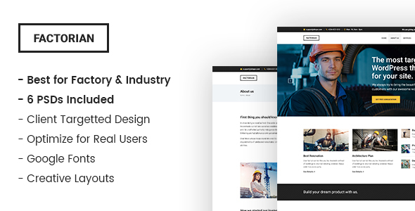 Factorian – Industry and Factory PSD Template            TFx