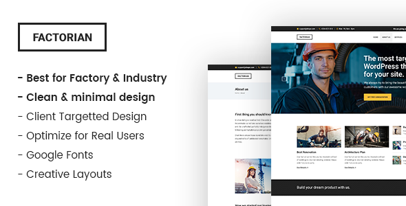 Factorian - Minimal factory & industry HTML Template            TFx