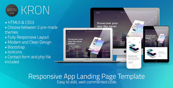 Kron | Responsive HTML/CSS App Landing Page Template            TFx