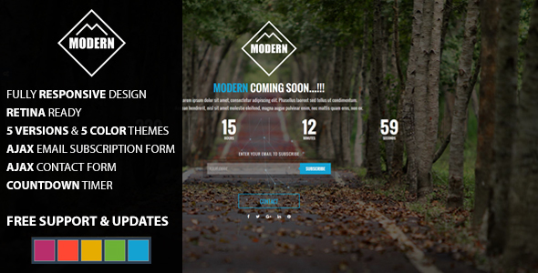 MODERN Coming Soon HTML Template            TFx