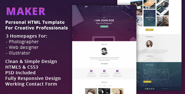 Maker - Personal HTML Template For Creative Professionals            TFx