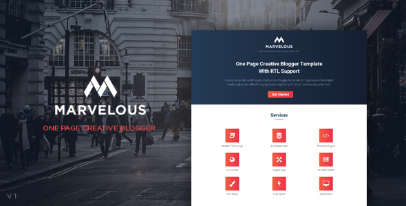 Marvelous - One Page Creative Blogger Template With RTL Support            TFx