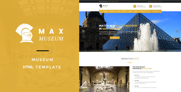 Max Museum - Historical & Artifacts Museum HTML Template            TFx