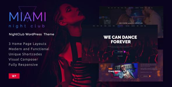 Miami- Night Club Responsive WordPress Theme            TFx