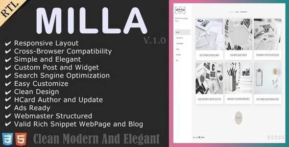 Milla - Minimal Porfolio Blogger Theme            TFx