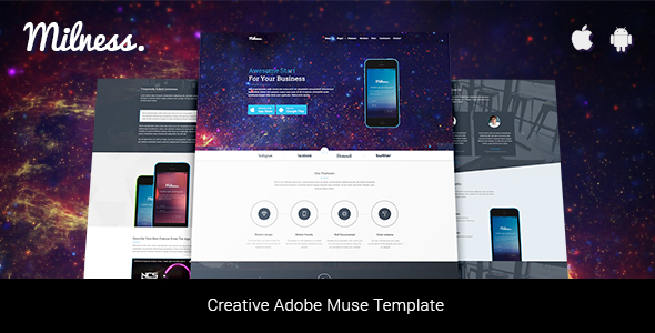 Milness – Showcase Mobile App Adobe Muse Template            TFx