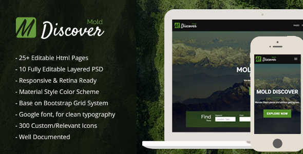 Mold Discover - Travel Bootstrap Template            TFx