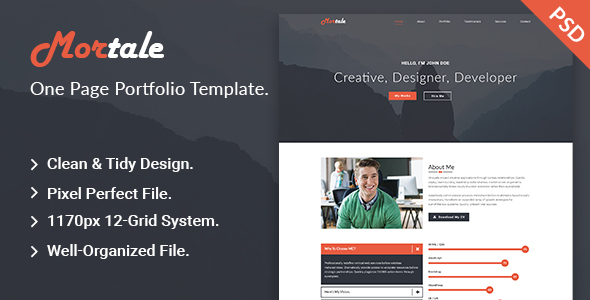 Mortale | One Page Personal Portfolio PSD Template.            TFx