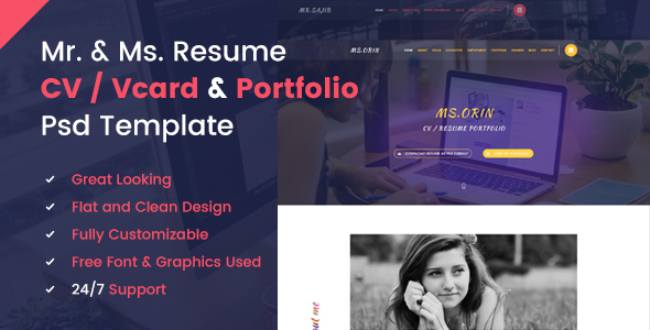Mr. & Ms. Resume PSD Template            TFx
