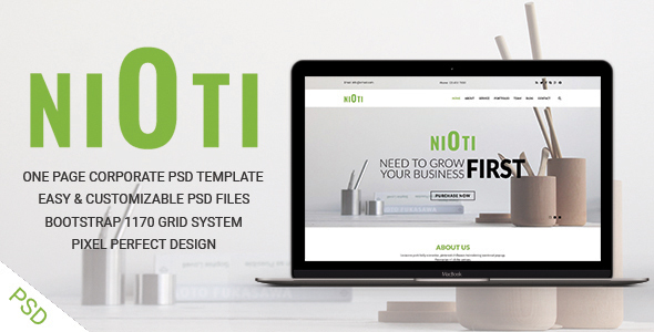 NIOTI - one page Multipurpose psd template            TFx