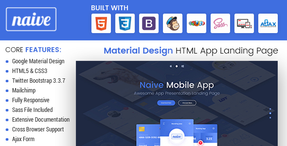 Naive - Material Design Responsive HTML App Landing Page            TFx