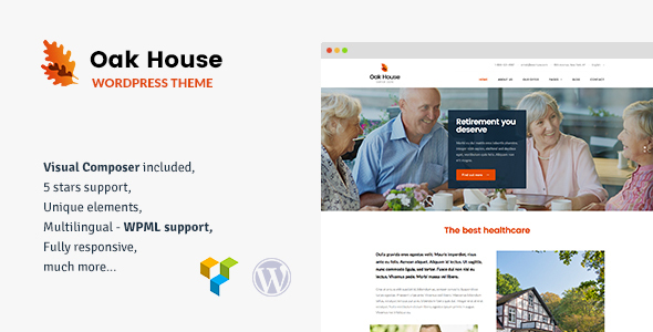 Oak House - Senior Care, Retirement, Rehabilitation WordPress Theme            TFx