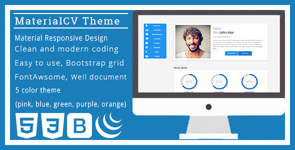 One-Page Material CV HTML Template            TFx
