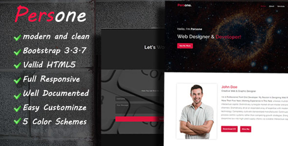 Persone - OnePage Responsive Personal Template            TFx