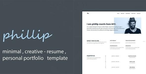 Phillip - Minimal Personal Portfolio /CV / Resume Template            TFx