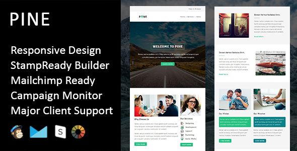 Pine - Multipurpose Responsive Email Template + Stampready Builder            TFx