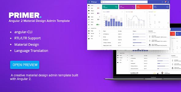 Primer - Angular 2 Material Design Admin Template            TFx