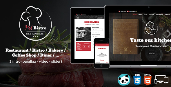 Red Bistro - Restaurant Responsive HTML5 Template            TFx