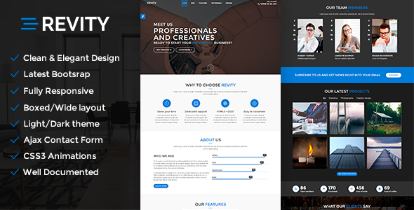 Revity - Responsive Multipurpose Bootstrap Template            TFx