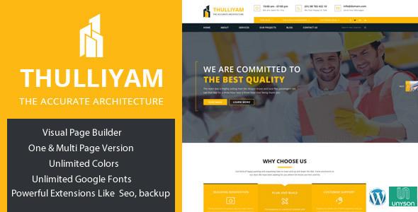 Thulliyam Architecture Builder Construction WordPress Theme            TFx
