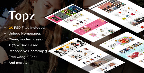 Topz | Responsive Multi-Purpose eCommerce PSD Template            TFx