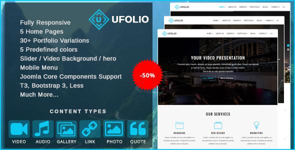 Ufolio - Multipurpose & Portfolio Joomla Template            TFx