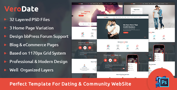 VeroDate - Dating Social Network Website PSD Template            TFx