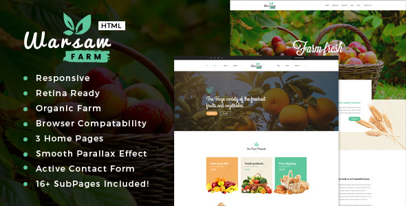 Warsaw - Organic Food, Agriculture, Farm Services and Beauty Products HTML Template            TFx