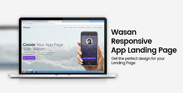 Wasan Responsive App Landing Page            TFx