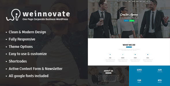 Weinnovate - One Page Corporate Business WordPress            TFx