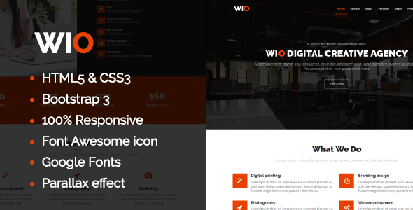 Wio One Page HTML Template            TFx