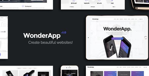 WonderApp - Multipurpose Responsive Landing Page in WordPress with 20+ Elements            TFx