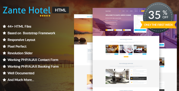 Zante Hotel - Hotel HTML Template            TFx