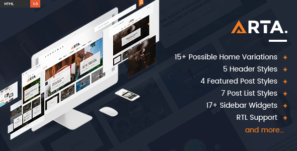 ARTA – Modern & Simple Blog HTML Template            TFx