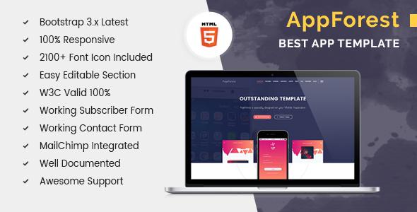 AppForest - HTML5 Apps Landing Template            TFx