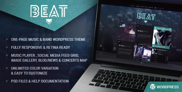Beat - One-Page Music & Band AJAX WordPress Theme            TFx
