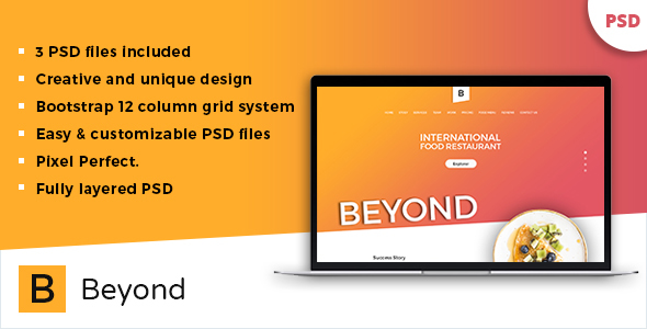 Beyond One Page Restaurant Templates PSD            TFx