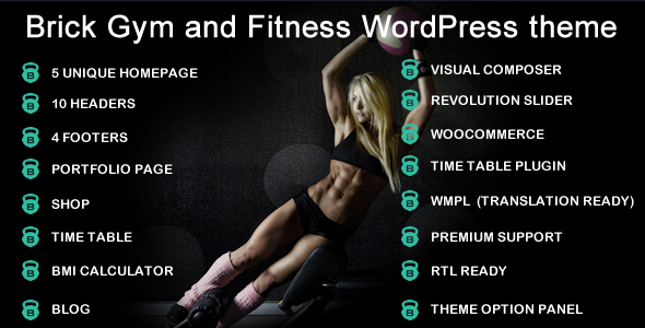 Brick Gym & Fitness Multipurpose WordPress Theme            TFx