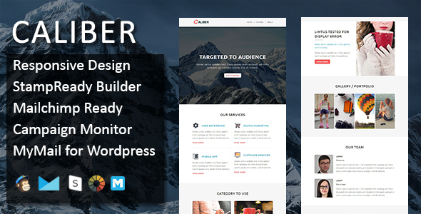 CALIBER – Multipurpose Responsive Email Template with Stamp Ready Builder Access            TFx