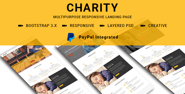 CHARITY - Multipurpose Responsive HTML Landing Pages            TFx