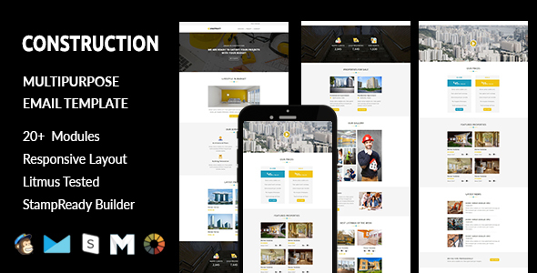 CONSTRUCTION - Responsive Email Template with Stampready Builder Access            TFx