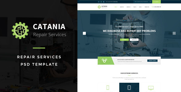 Catania - Computer Repairs PSD Template            TFx