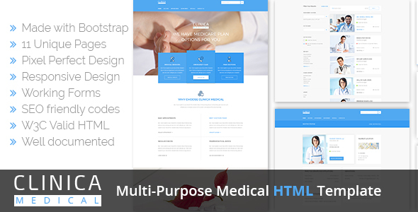 Clinica Multi-Purpose Medical HTML Template            TFx