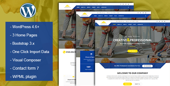 Construction & Building Business WordPress Theme            TFx