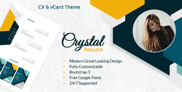 Crystal Resume - CV PSD Template            TFx