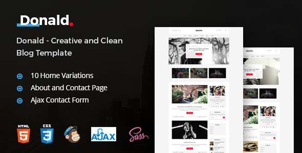 Donald - Creative and Clean Blog Template            TFx